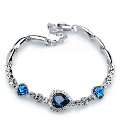 New Fashion Ocean Blue Sliver Plated Crysta Imitation Rhinestone Heart Charm Bracelet Bangle Gift blue one size