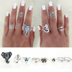 8 Pcs/lot Bohemian Turkish Midi Ring Set Vintage Steampunk Elephant Ring Knuckle Rings silver one size