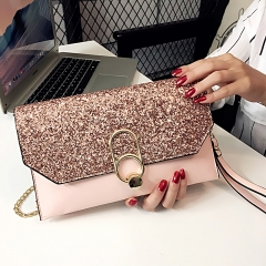 2018 New Hot Of Hand Package Women Fashion Sequins Envelope Bag Personality Clutch Purse Leather pink one size