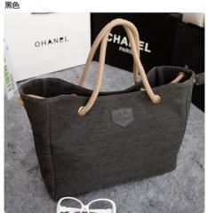 2018 New Pure Cotton Canvas Shopping School Books Trip Bag Women Shoulder Bag Shopping Bags Black One Size