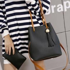 Drawstring bucket bag women genuine leather handbag female shoulder crossbody bag with tassel black one size