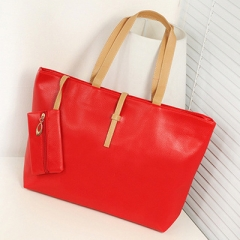 2 Pcs/Set Fashion Women PU Leather Solid Color Handbag Purse Ladies Shoulder Crossbody Bags Popular red one size