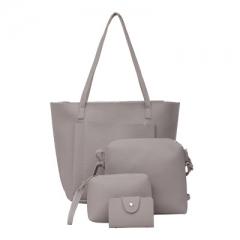 4pcs bags Women PU Leather Shoulder Crossbody Bag Female Fashion Day Clutch Bag gray one size