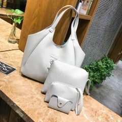 2018 Women Handbags Composite Lady Shoulder Crossbody Wallet Bag PU Leather Bags 4pcs/set Purse white one size