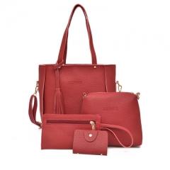 2018 Women Handbags Composite Lady Shoulder Crossbody Wallet Bag PU Leather Bags 4pcs/set Purse red one size