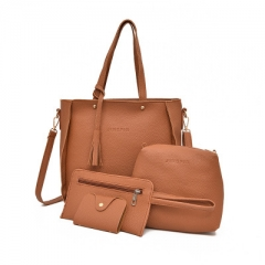 2018 Women Handbags Composite Lady Shoulder Crossbody Wallet Bag PU Leather Bags 4pcs/set Purse coffee one size