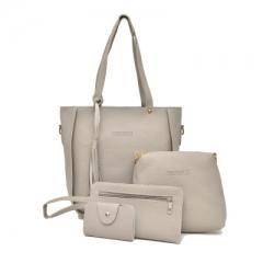 2018 Women Handbags Composite Lady Shoulder Crossbody Wallet Bag PU Leather Bags 4pcs/set Purse light gray one size