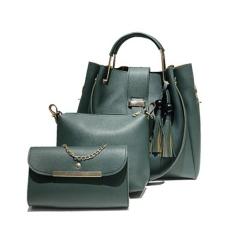2018 Bucket Bolsos Mujer New Handbag Solid Color Tassels Tassel Three-piece Package Shoulder Bag green one size