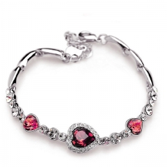 New Fashion Ocean Blue Sliver Plated Crysta Imitation Rhinestone Heart Charm Bracelet Bangle Gift pink one size