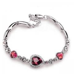 New Fashion Ocean Blue Sliver Plated Crysta Imitation Rhinestone Heart Charm Bracelet Bangle Gift pink one size