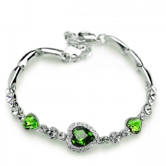 New Fashion Ocean Blue Sliver Plated Crysta Imitation Rhinestone Heart Charm Bracelet Bangle Gift green one size