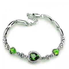 New Fashion Ocean Blue Sliver Plated Crysta Imitation Rhinestone Heart Charm Bracelet Bangle Gift green one size