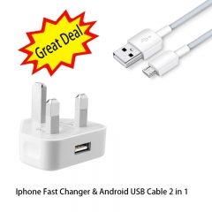 3Pin Iphone Fast Charger&Android USB Cable suite for Android Phone Cubot Infinix Samsung Great Deal Cable Only Normal