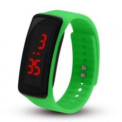 LED Digital Bracelet Watch Water Proof Wristwatch for Men Women Children Gift Smart Watch Green 170mm-288mm