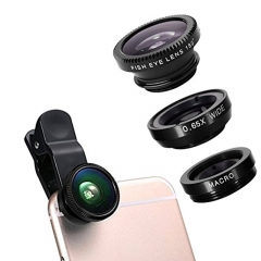 3 in 1 Clip-On Camera Lens 180° Advanced Fisheye + 0.65x Wide Angle + Macro for Cubot Infinix Iphone Gold Unlimited