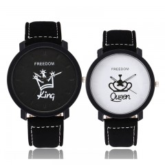 Rafiki Brand Pack Of 2/Set His and Her Couples King/Queen Lovers Casual Quartz Watch Couple's Gift as picture onesize
