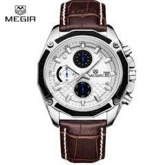 MEGIR 2018 Official Quartz Men Watches Fashion Genuine Leather Chronograph white as picture