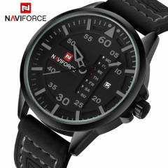 NAVIFORCE 2018 Army Military Watches Men's Quartz Date Clock Man Leather Strap Sports Wrist Watch grey as picture