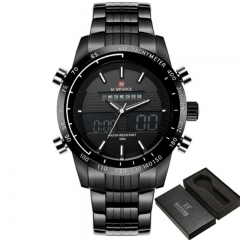 NAVIFORCE Sport Watches Men's Quartz Digital Analog Clock Full Steel Wrist Watch rose as picture
