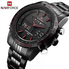 NAVIFORCE Sport Watches Men's Quartz Digital Analog Clock Full Steel Wrist Watch bronze as picture