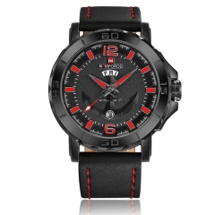 Naviforce 2018 New Top Leather Strap Sports Watches Men Quartz Clock Sports Military Wrsit Watch black red as picture