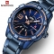 NAVIFORCE Fashion Casual Quartz Watch Men Military Stainless Steel Sports Watches Blue as picture