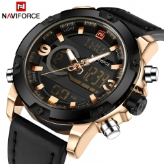 NAVIFORCE 2018 Analog Digital Leather Sports Watches Men's Quartz Clock Gold black as picture