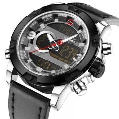 NAVIFORCE 2018 Analog Digital Leather Sports Watches Men's Quartz Clock Silver black as picture