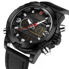 NAVIFORCE 2018 Analog Digital Leather Sports Watches Men's Quartz Clock black as picture