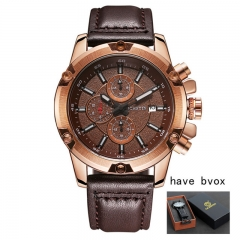2018 Fashion Leather Strap watches Men Casual Business wristwatches Sports Military quartz watch coffee gold as picture