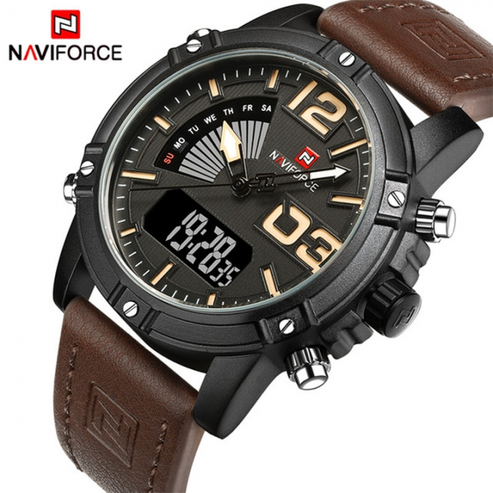 NAVIFORCE 2018 Men's Fashion Sport Quartz Analog Date Clock Leather Military Waterproof Watch black yellow as picture