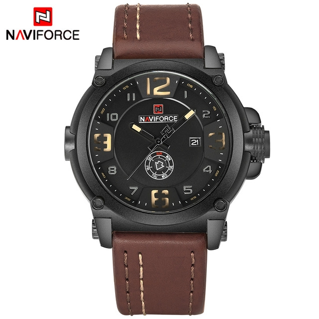 NAVIFORCE Top Luxury Men Sports Military Quartz Watch Man Analog Date Clock Leather Strap Wristwatch Black Yellow as picture