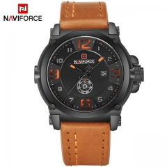 NAVIFORCE Top Luxury Men Sports Military Quartz Watch Man Analog Date Clock Leather Strap Wristwatch Orange as picture
