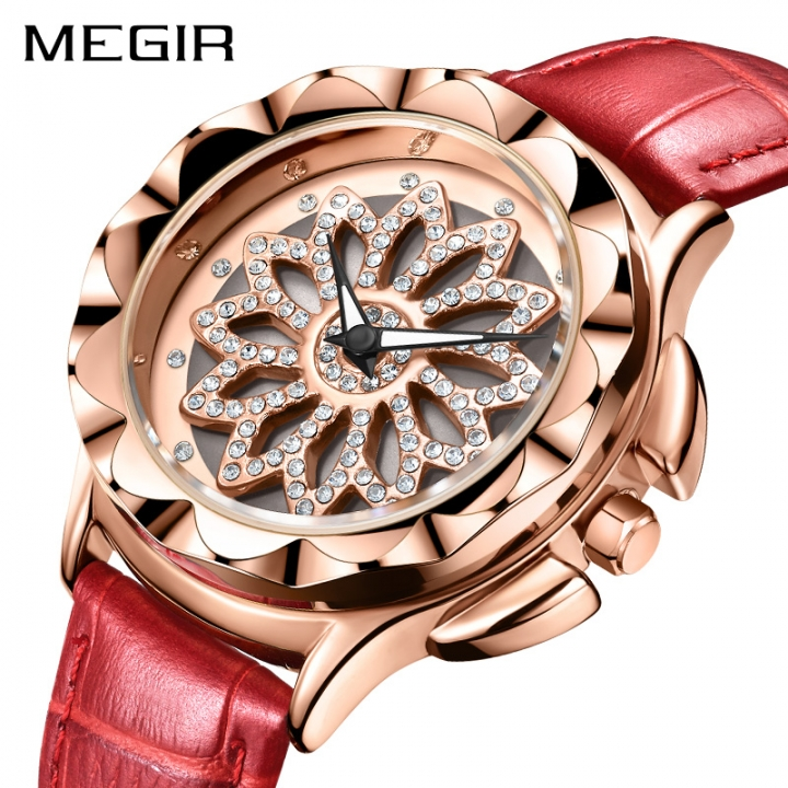 a6b6ab84585 MEGIR Fashion Quartz Women Watches Leather Strap Luxury Lovers Ladies  Wristwatches Clock Hour Time Red