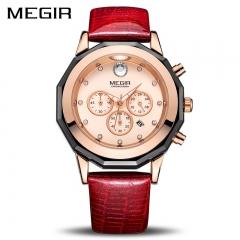 New MEGIR Women Watches Fashion Luminous Leather Quartz Ladies Wrist Watch Clock for Female Lovers red