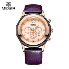 New MEGIR Women Watches Fashion Luminous Leather Quartz Ladies Wrist Watch Clock for Female Lovers Purple