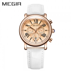 MEGIR Fashion Women Bracelet Watches Luxury Ladies Quartz Watch Clock for Lovers Sport Wristwatches white
