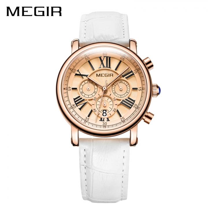 MEGIR Fashion Women Bracelet Watches Luxury Ladies Quartz Watch Clock for Lovers Sport Wristwatches white