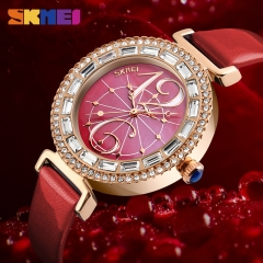 SKMEI Women Fashion Watches Leather Strap Quartz Watch Ladies Waterproof Casual Wristwatches red