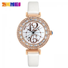 SKMEI Women Fashion Watches Leather Strap Quartz Watch Ladies Waterproof Casual Wristwatches white