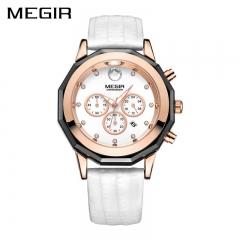 New MEGIR Women Watches Fashion Luminous Leather Quartz Ladies Wrist Watch Clock for Female Lovers white