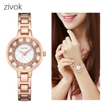 zivok Top Brand Luxury Women Watches Creative Women Bracelet Watch Lovers Quartz Wrist Watch Clock rose