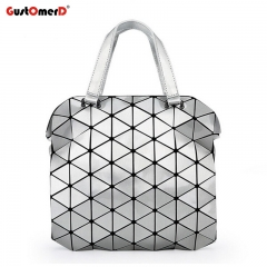 GustOmerD Fashion Bag Women Tote Fold Hand Bag Laser Geometric Handbags High Quality Shoulder Bag silver 27cm X 6cm X 26cm
