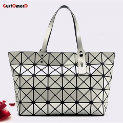 Women Tote handbags women bags designer Diamond Lattice Handbag Geometric Mosaic Handle Bags LS-silver 34cm X 11cm X 27cm