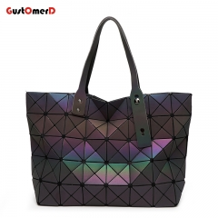 GustOmerD Women Fashion Bag Geometry female Large capacity Ladies Folding Handbags PU Casual Tote black 34cm x 1cm x 34cm