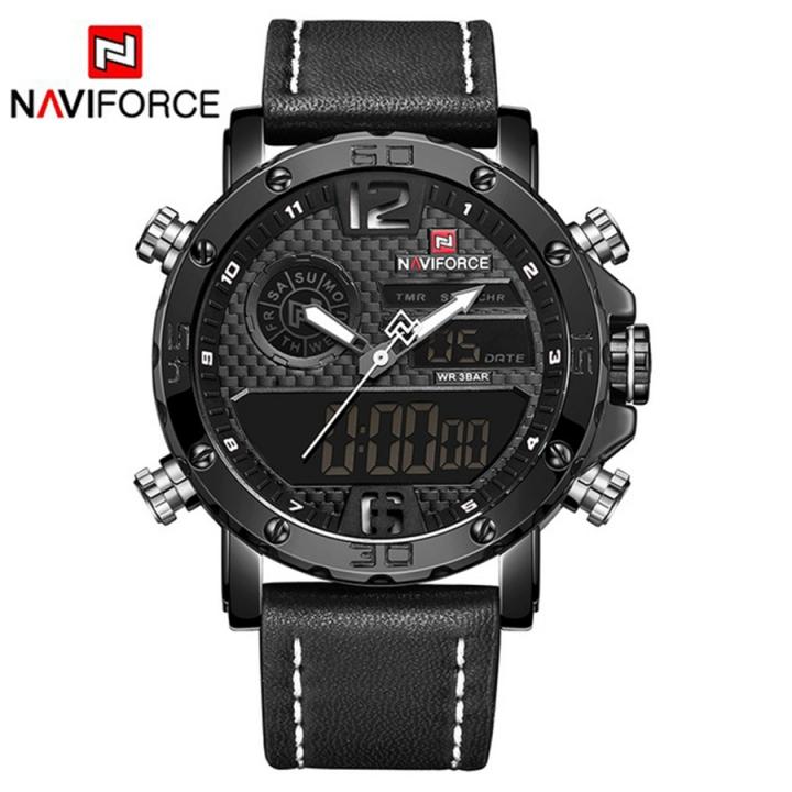NAVIFORCE Mens Leather Sports Watches Men's Quartz LED Digital Clock Waterproof Military Wrist Watch black white as picture