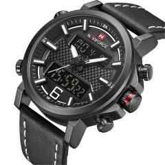 NAVIFORCE Men Sports Watches Fashion Men's Quartz Digital Leather Waterproof Military Wrist Watch black white as picture