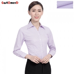 GustOmerD Women Clothing Tops High Quality Long Sleeve Shirt Business Office Lady Shirts purple V639 asian size 35 bust 82 to 86cm