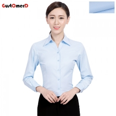 GustOmerD Women Shirt Business Long Sleeve Shirt High Quality Slim Fit Office Lady Shirt Pure Tops blue asian size 35 bust 82 to 86cm