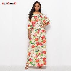 GustOmerD New Women Long Dress Slash Neck Floral Summer Dress For Party Lady l green
